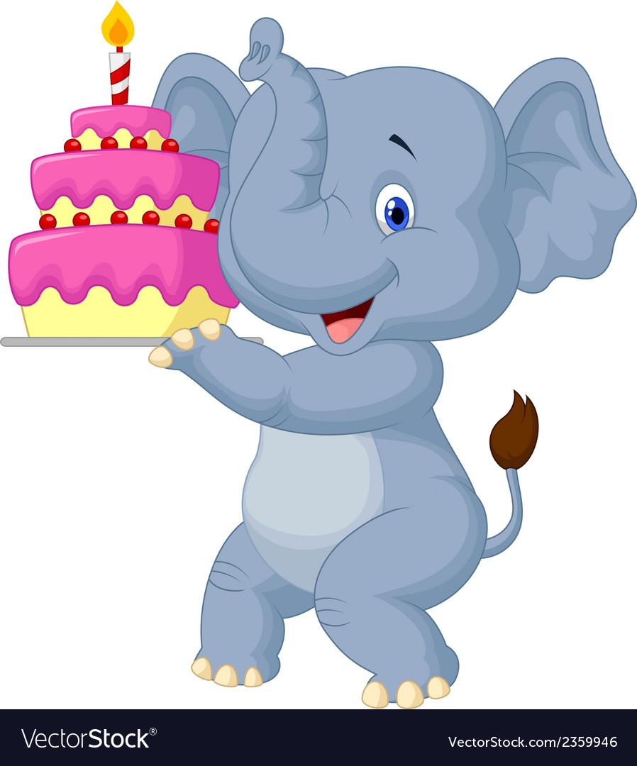 Elephant Cartoon With Birthday Cake Royalty Free Vector