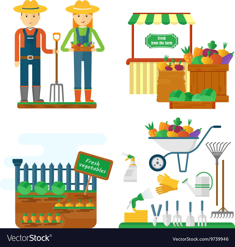 Farmer with garden equipment