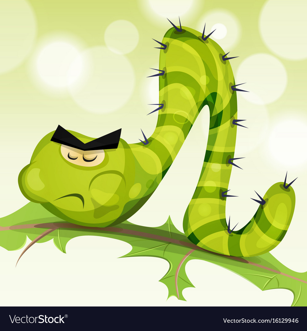 Funny caterpillar character vector image