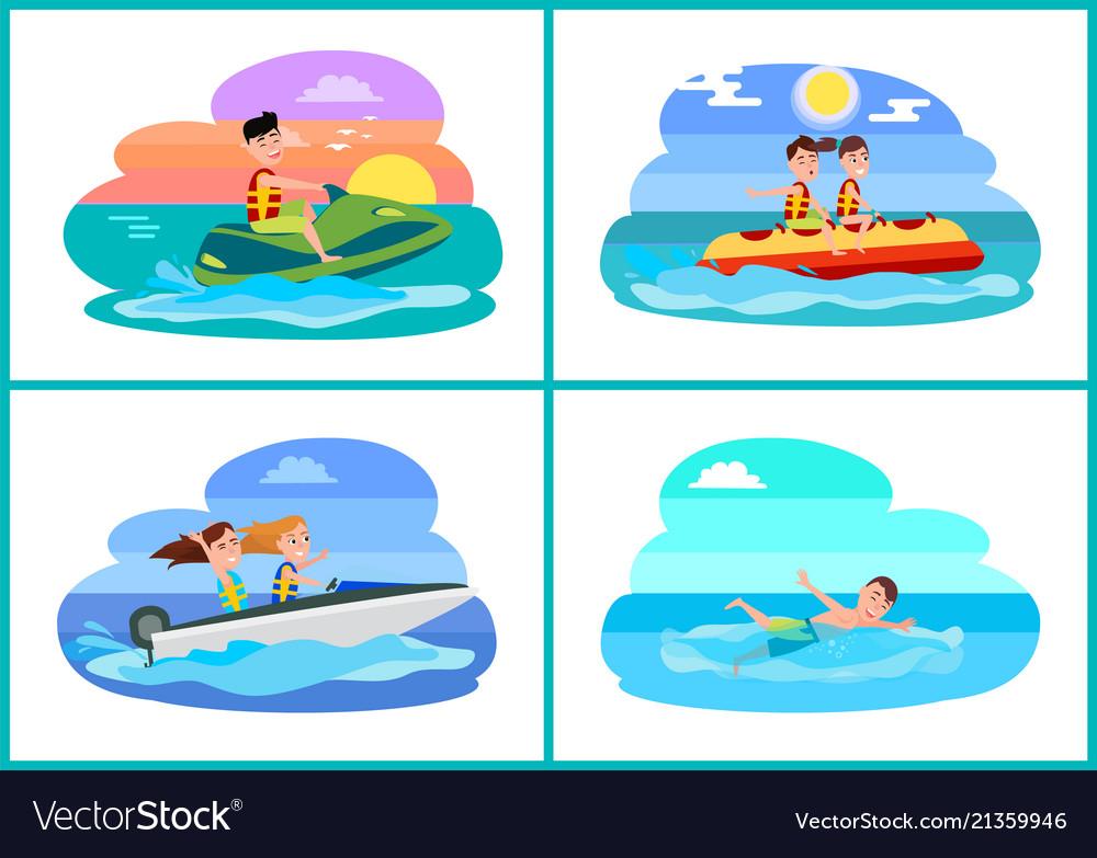 Human Summer Activities Set Vector Image