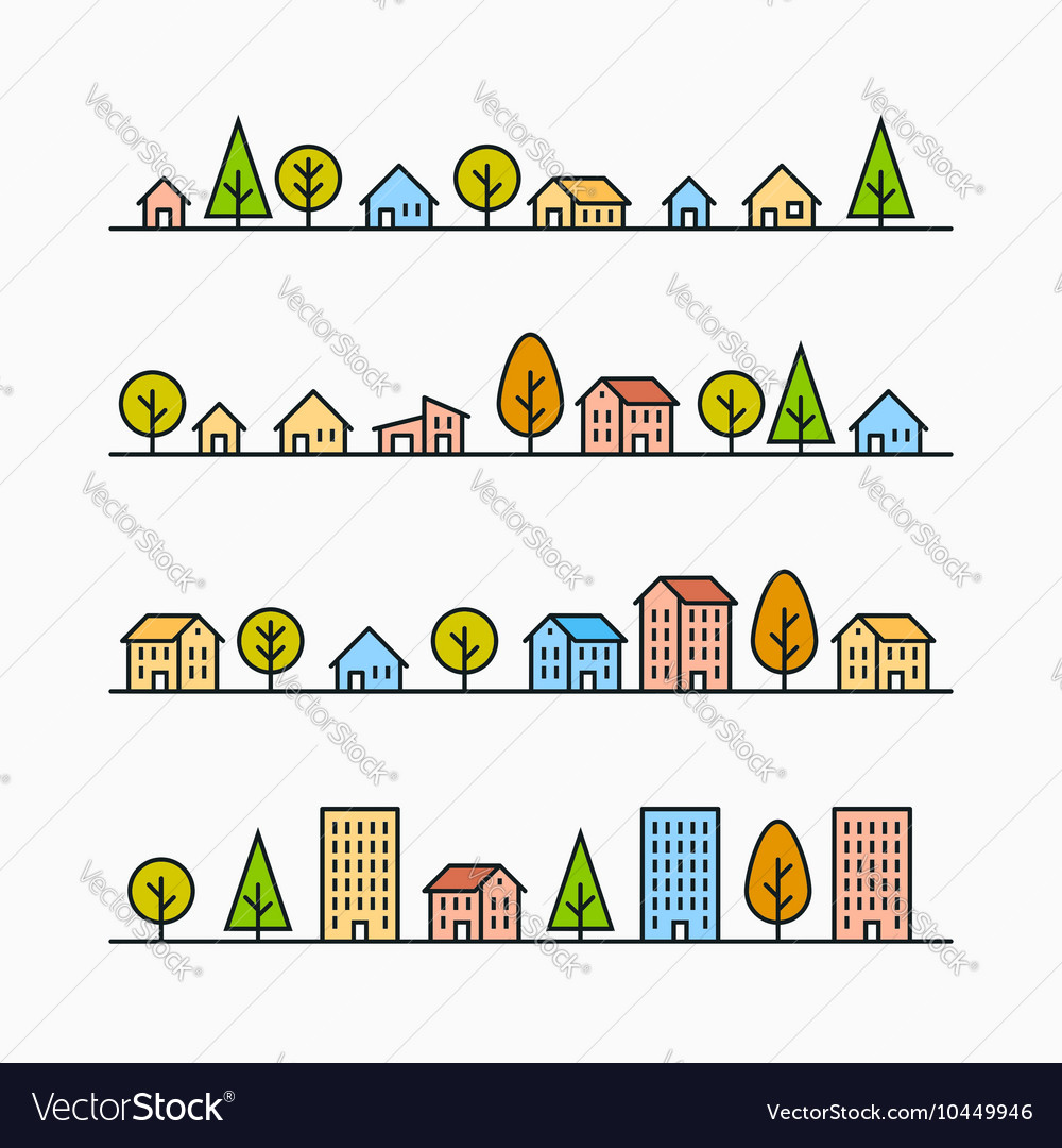 Line buildings and trees in line 4 different vector