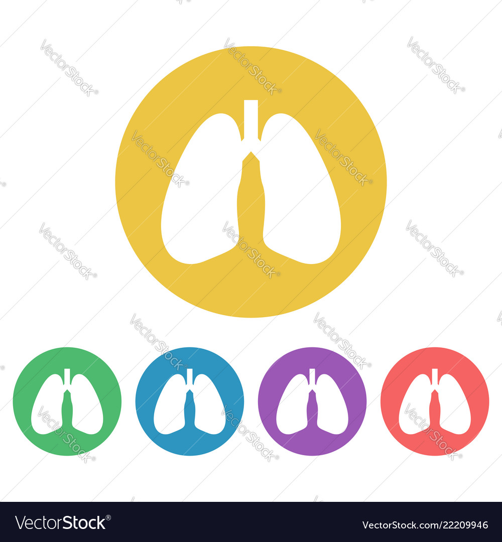 Lungs set of colored round icons