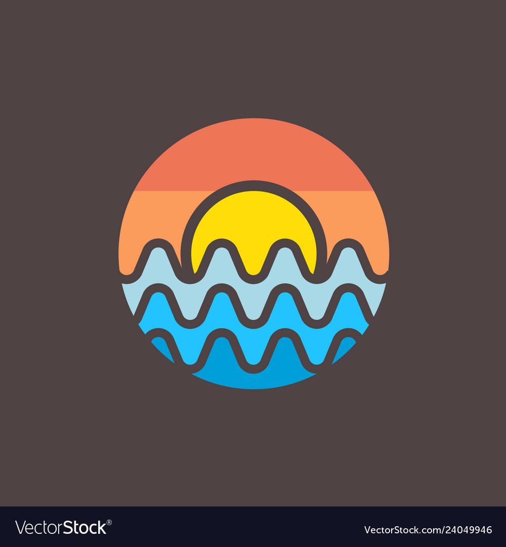 Radio wave sunset logo design