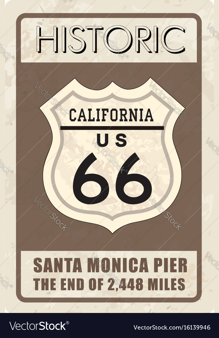 Retro route 66 sign historic roud background