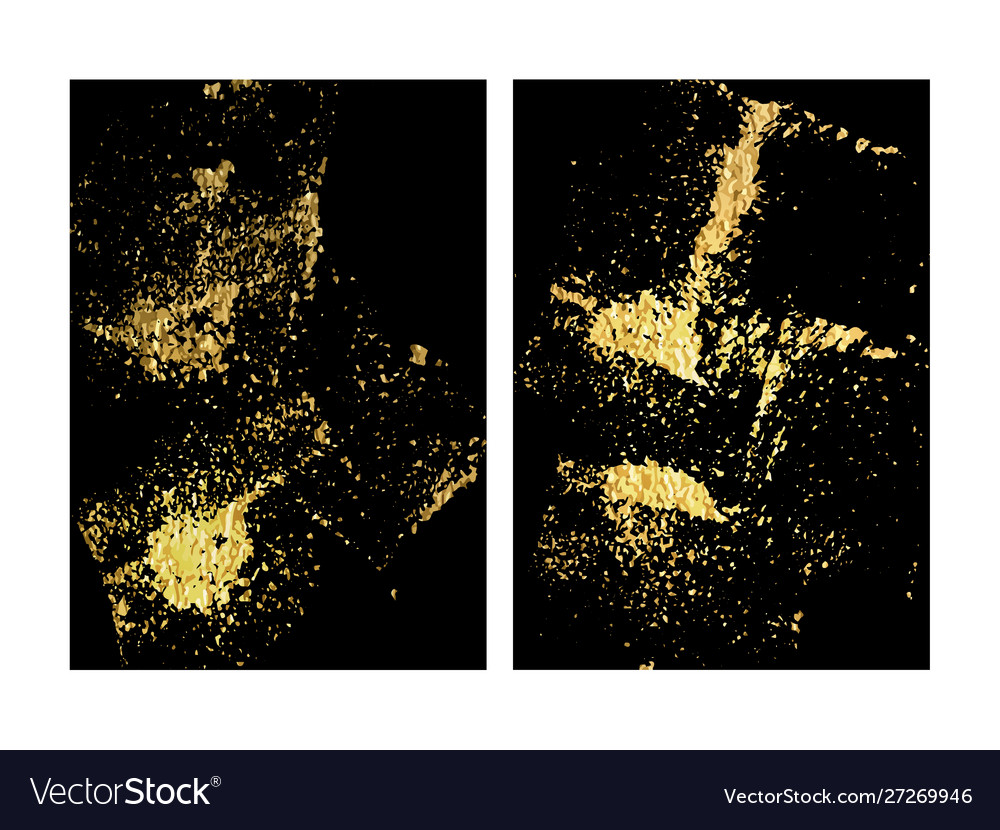 Set black and gold design templates