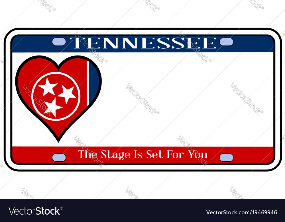 Tennessee state license plate Royalty Free Vector Image