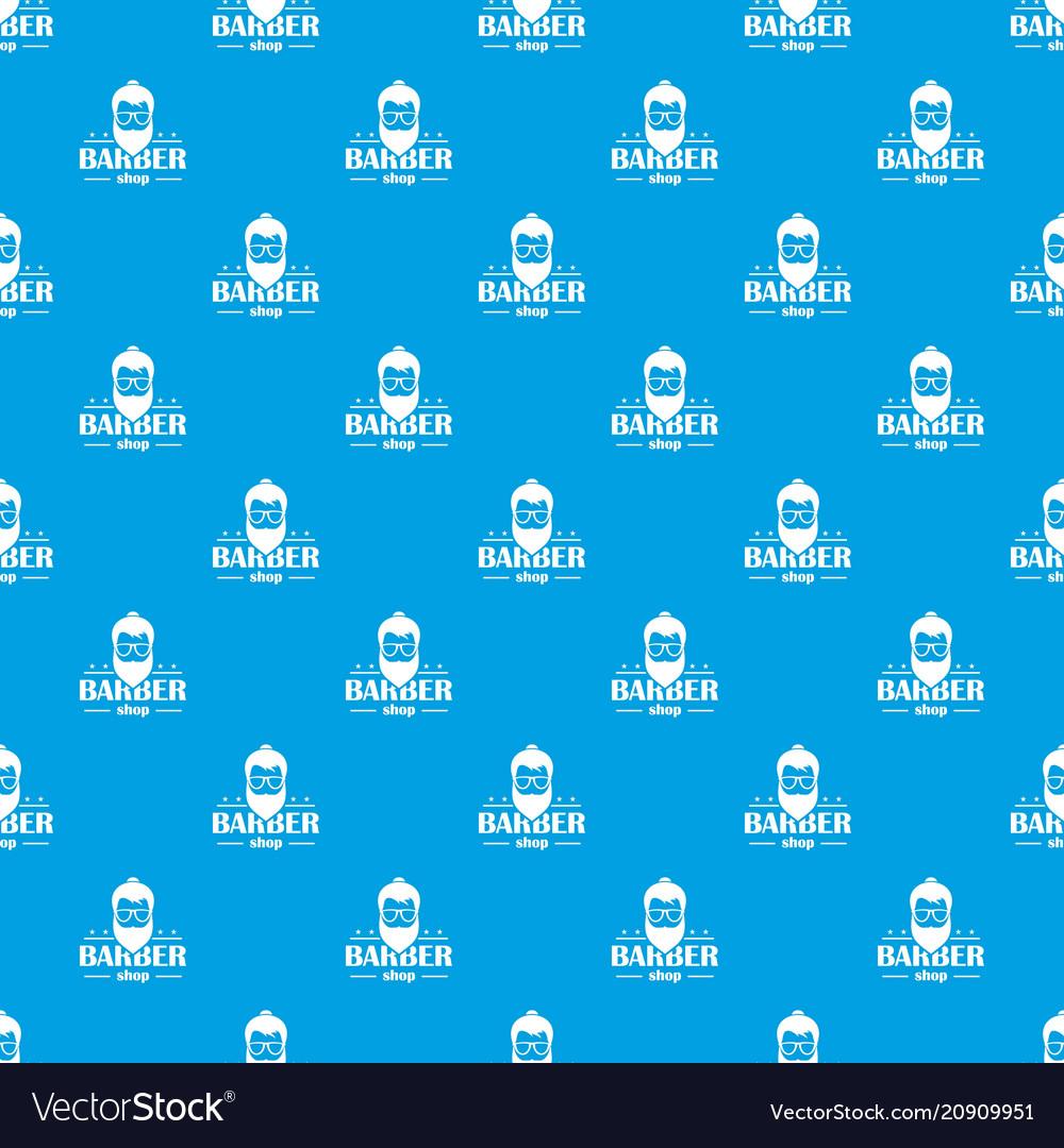 Barber shop pattern seamless blue vector image