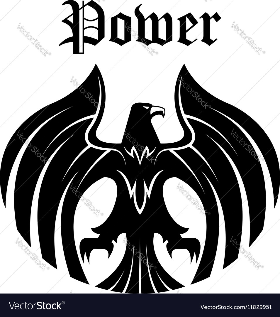 Black eagle round symbol for heraldic design