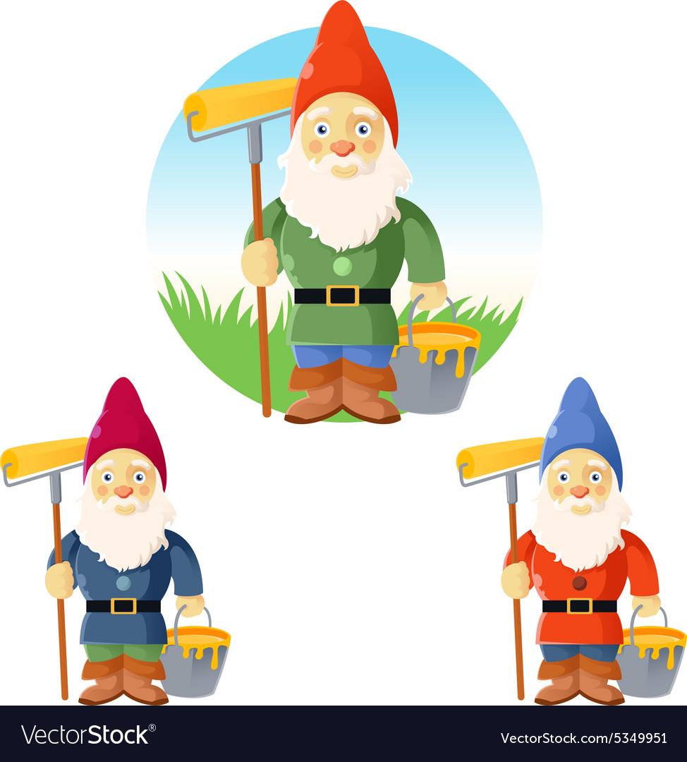 Collection of garden gnomes vector image