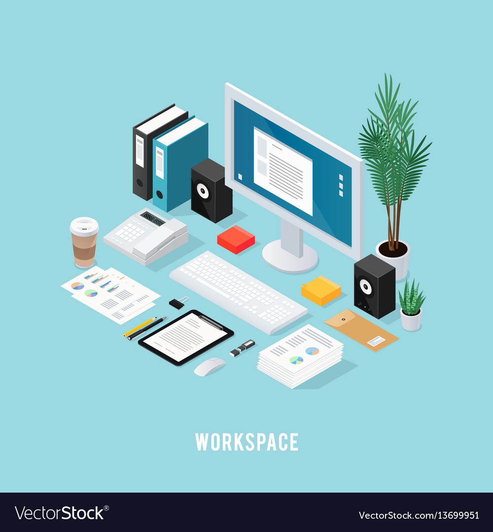 Colored office workspace isometric composition
