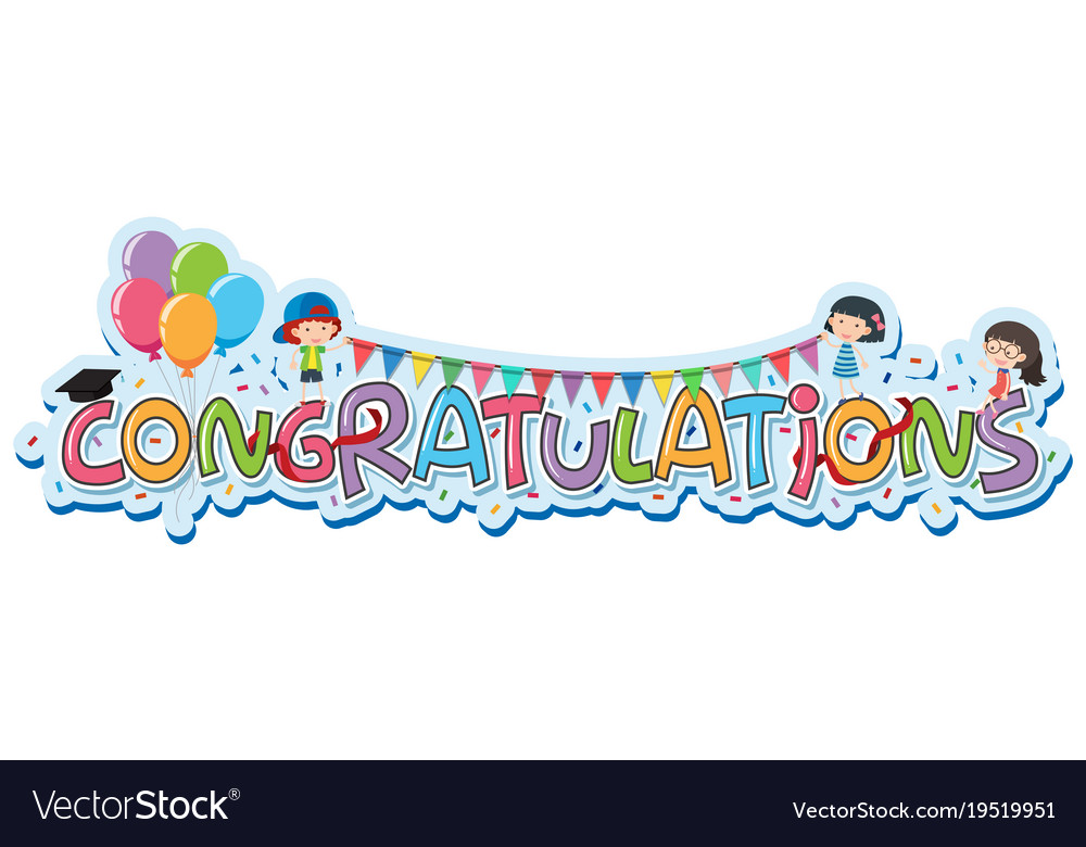 font design for word congratulations royalty free vector