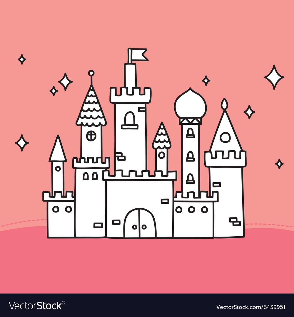 Hand drawn doodle large castle