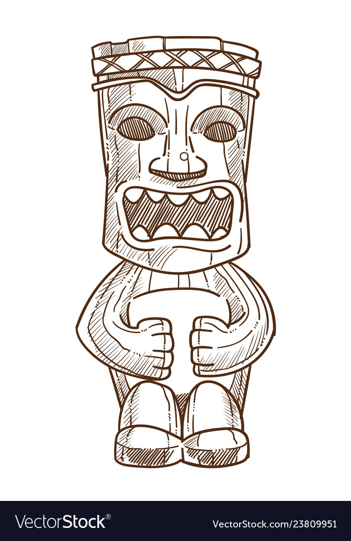 Hawaiian totem wooden statue with open mouth