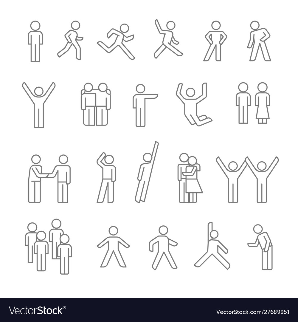 People isolated linear icons human silhouettes