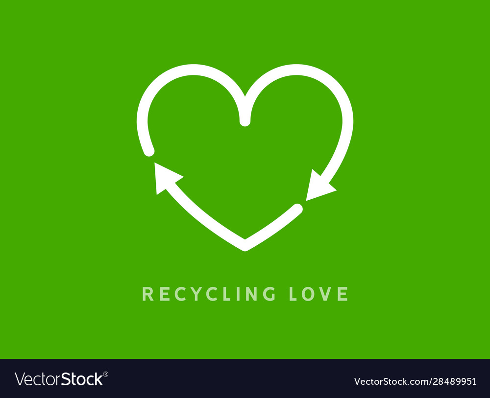 Recycle heart arrow sign love icon