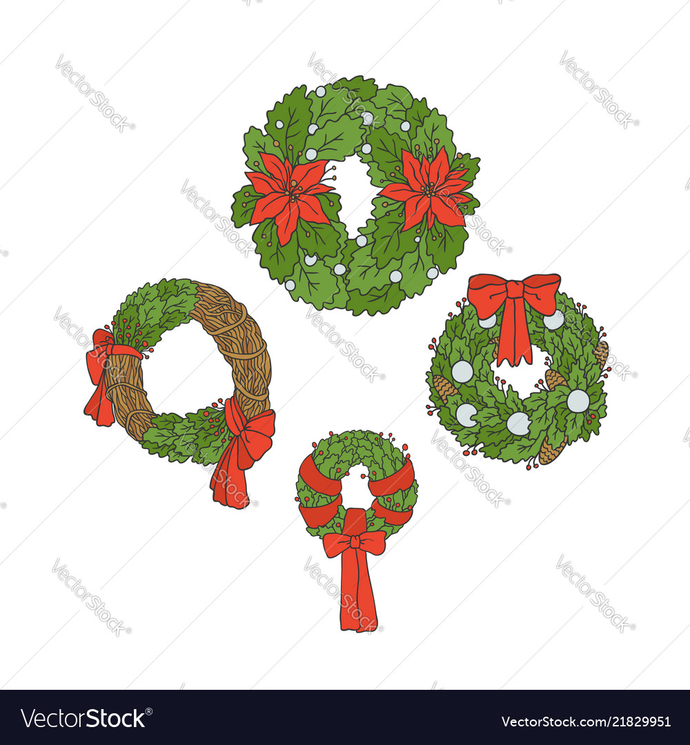Set christmas wreaths from leaves flowers Vector Image