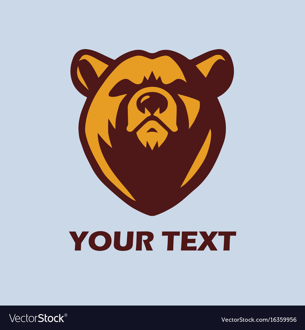 Angry bear logo template mascot design vector image