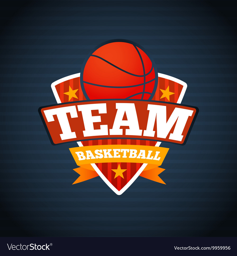 basketball team logo template with ball stars and vector image