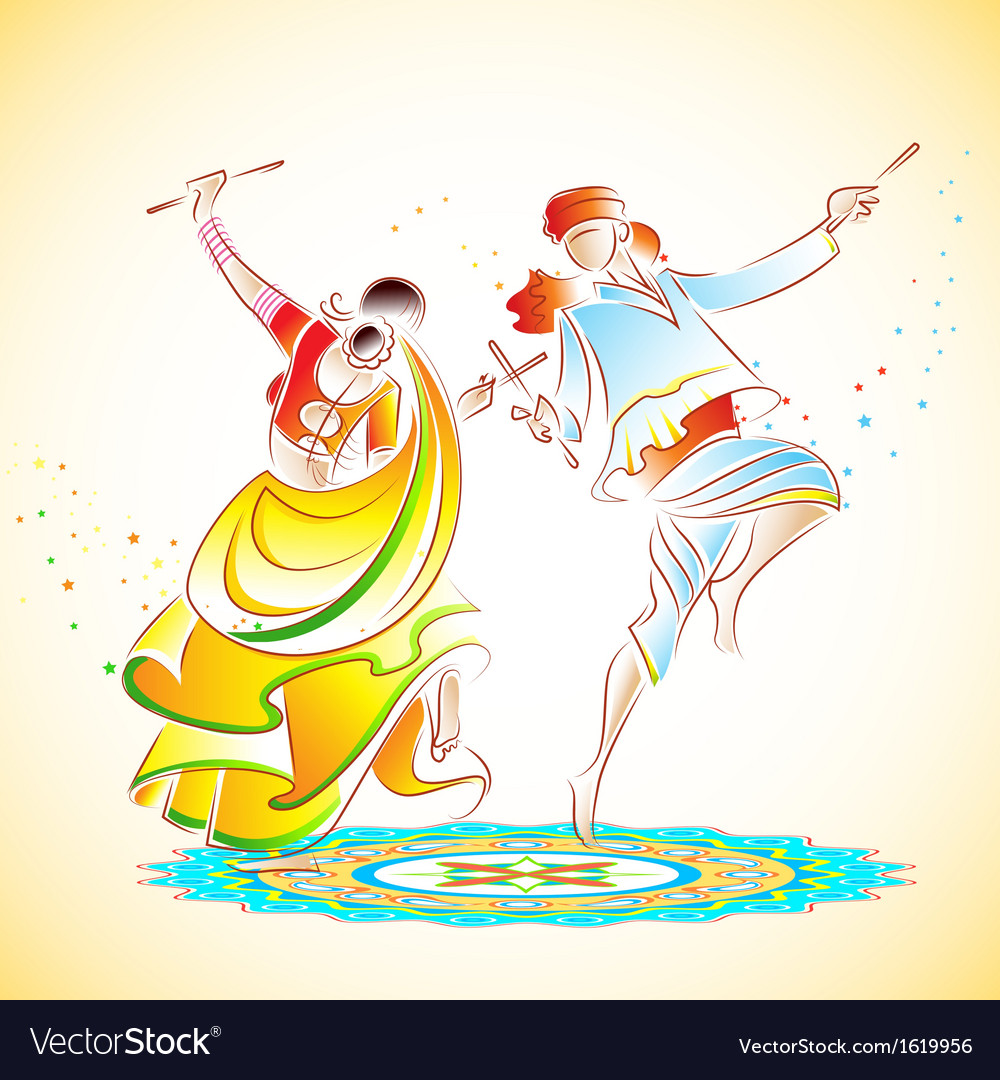 Couple playing Dandiya vector image