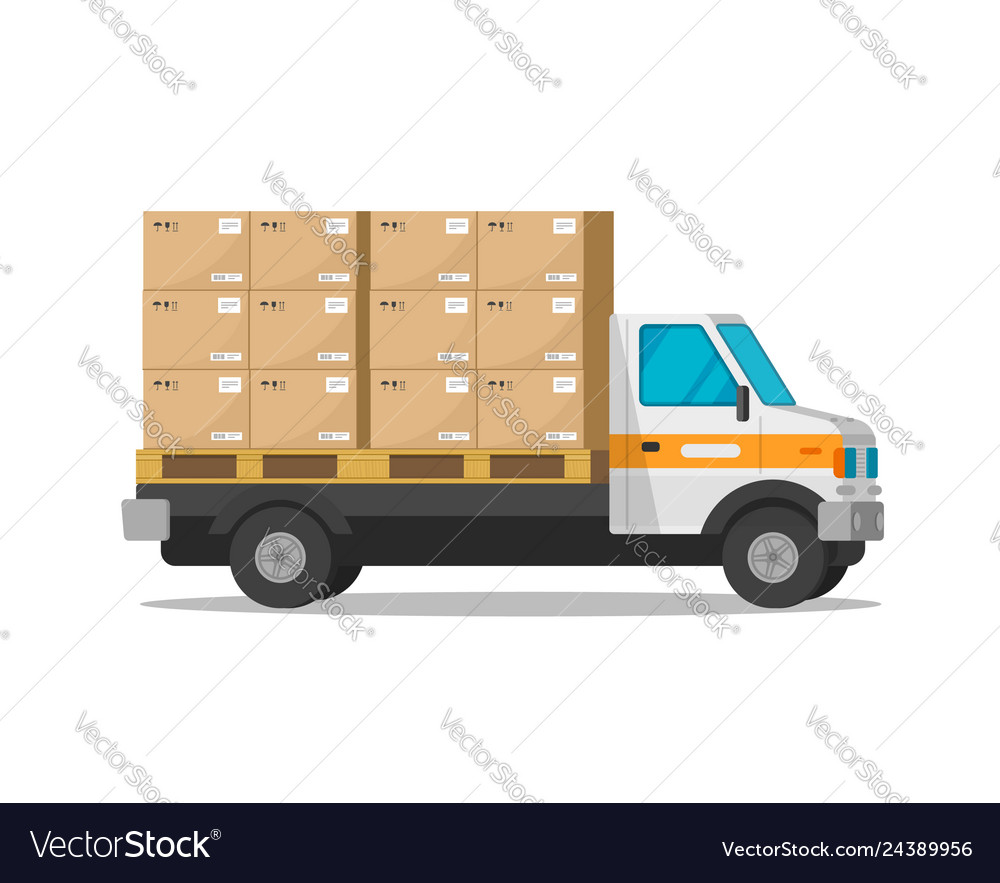 Delivery truck isolated with parcel cargo boxes