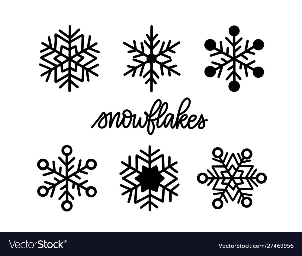 Doodle snowflake icons winter christmas set