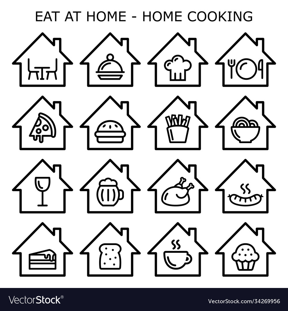 Eating at home home cooking icons set