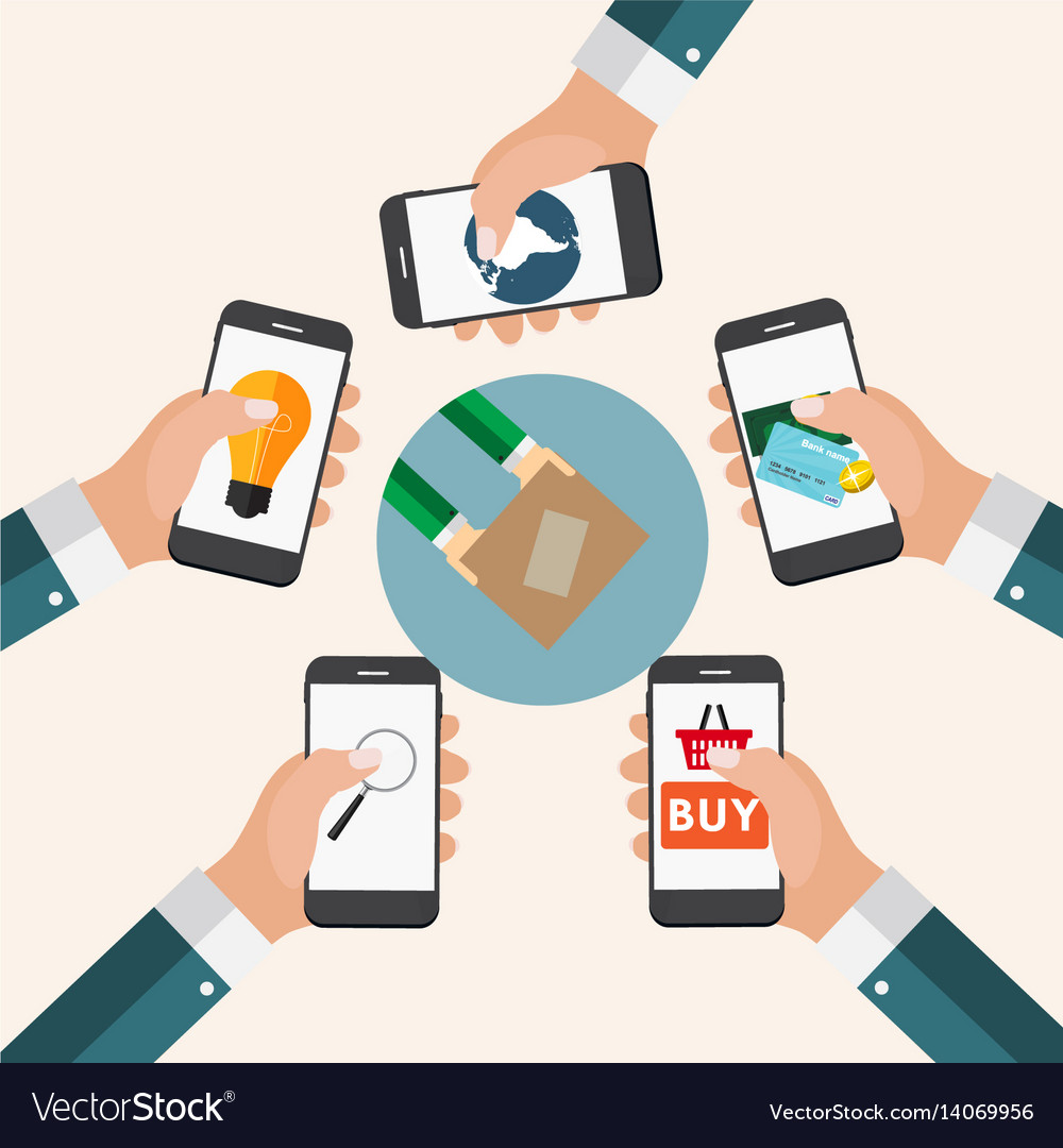 Mobile apps concept online business shopping e