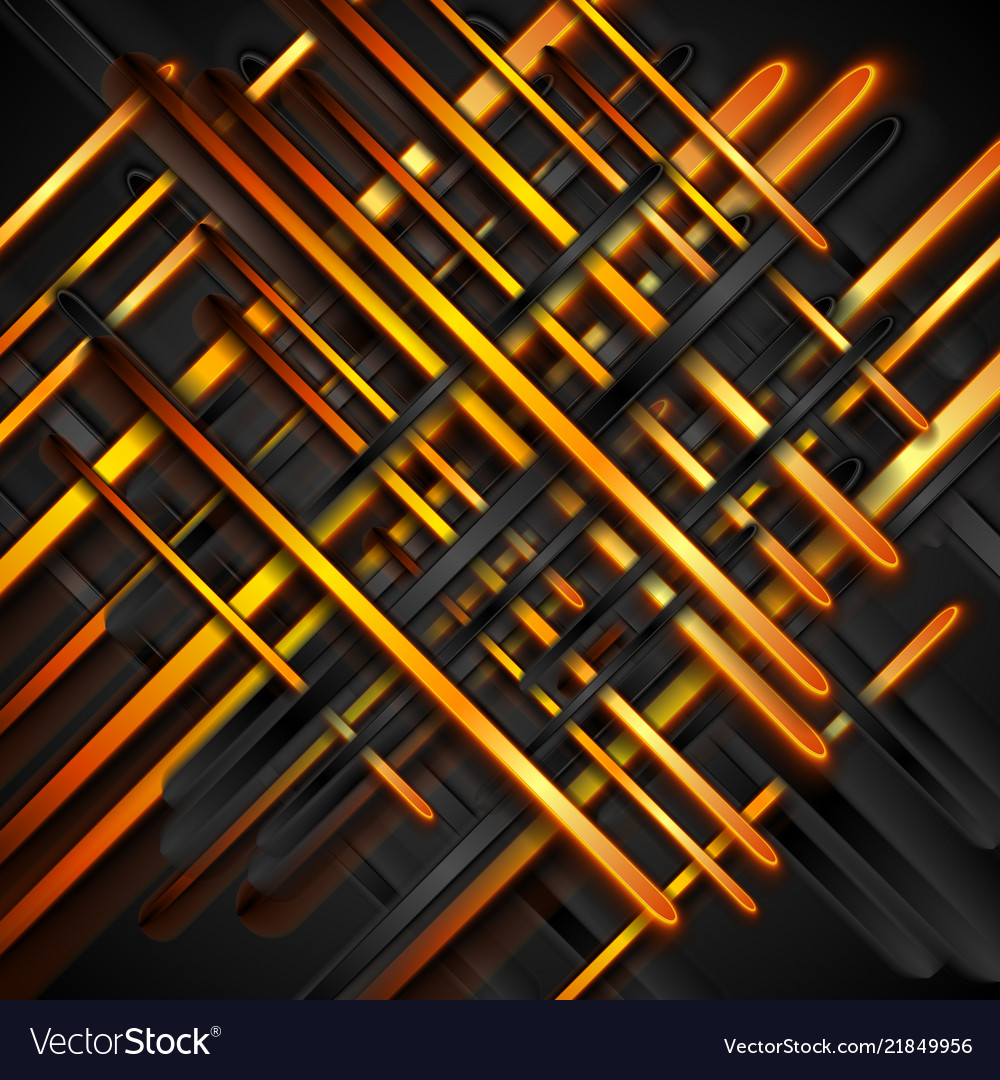Orange And Black Glossy Stripes Abstract