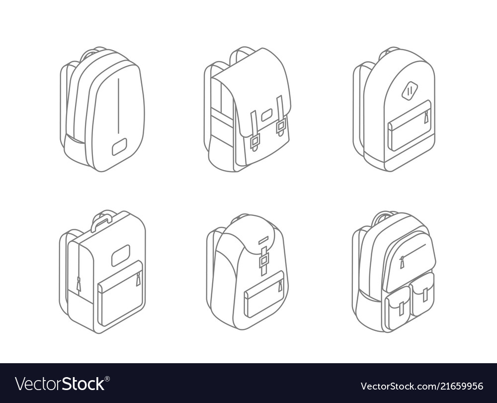 Set backpacks isometric icons in line design