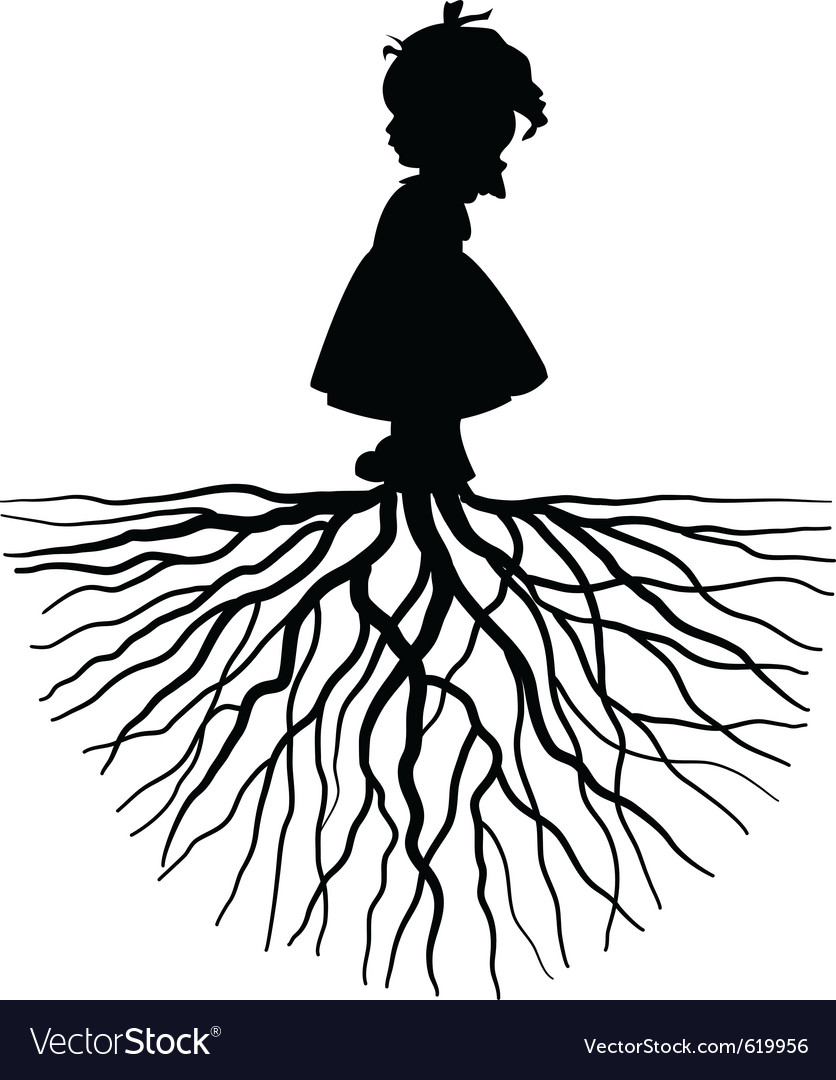 Silhouette of a girl with root vector image