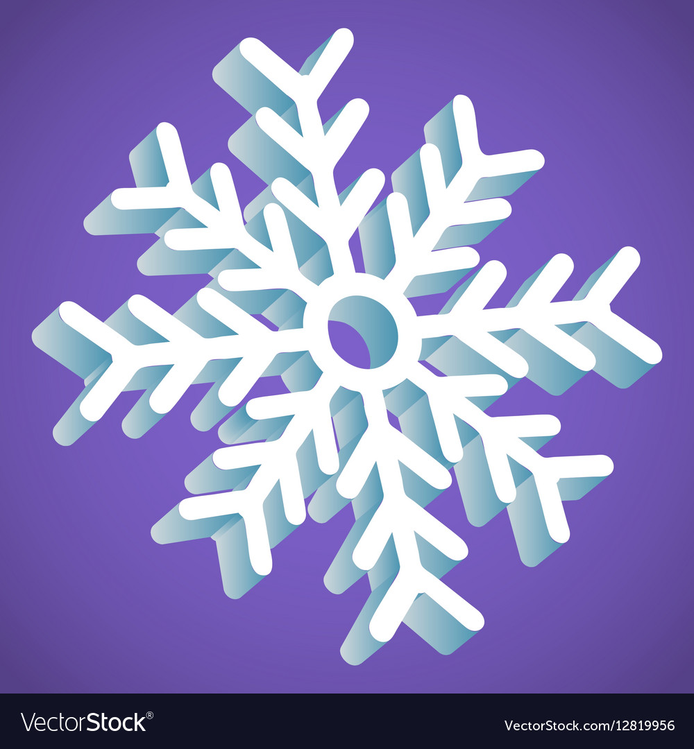 Snowflake Smooth Icon In Perspective On Lavender vector image