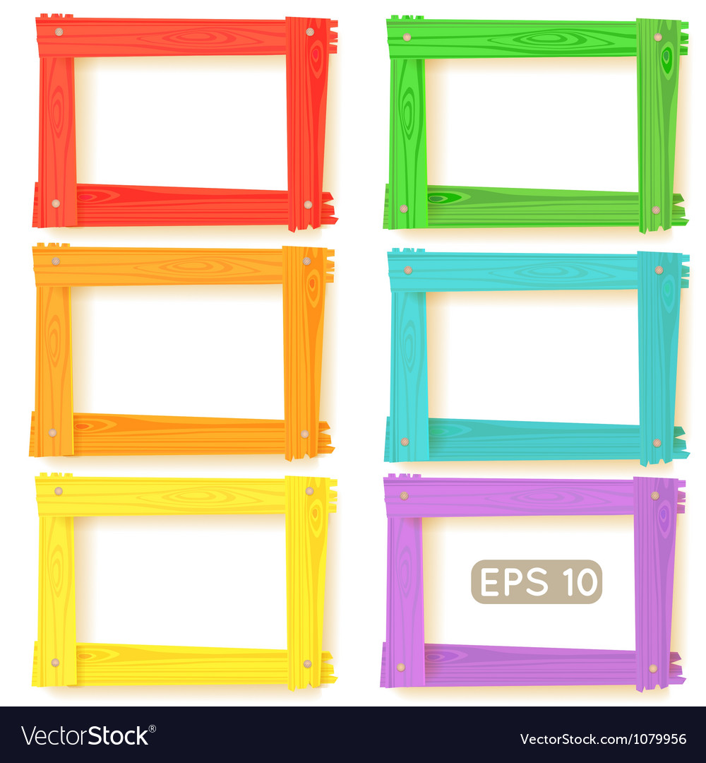 Wooden picture frames color set Royalty Free Vector Image
