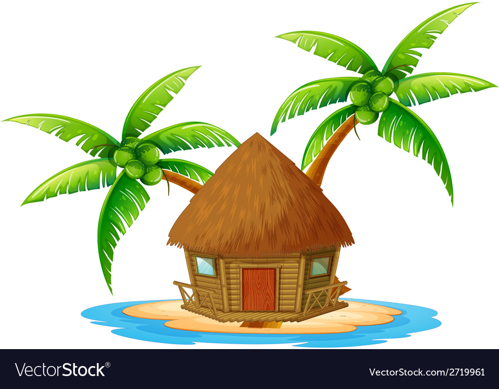 An island with a nipa hut