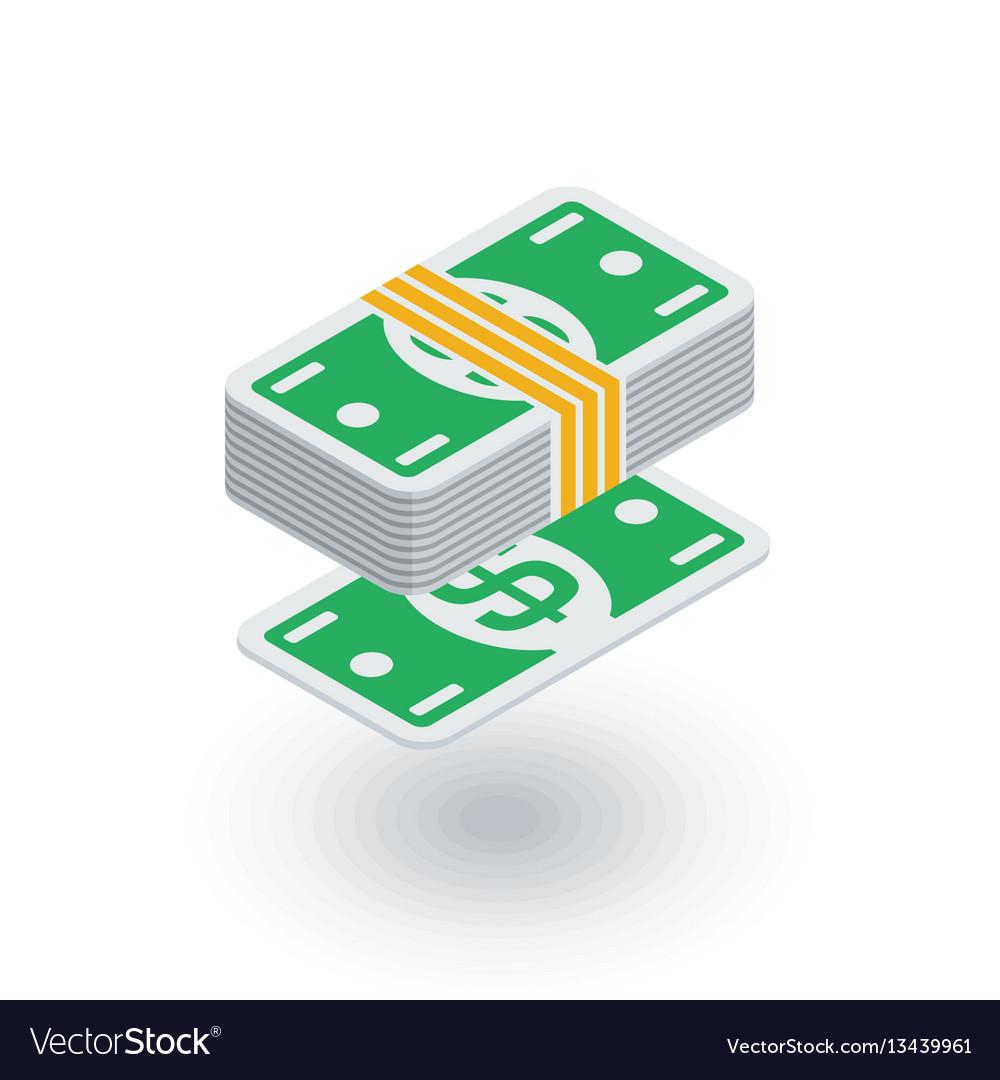 Banking money bundle dollar banknotes isometric