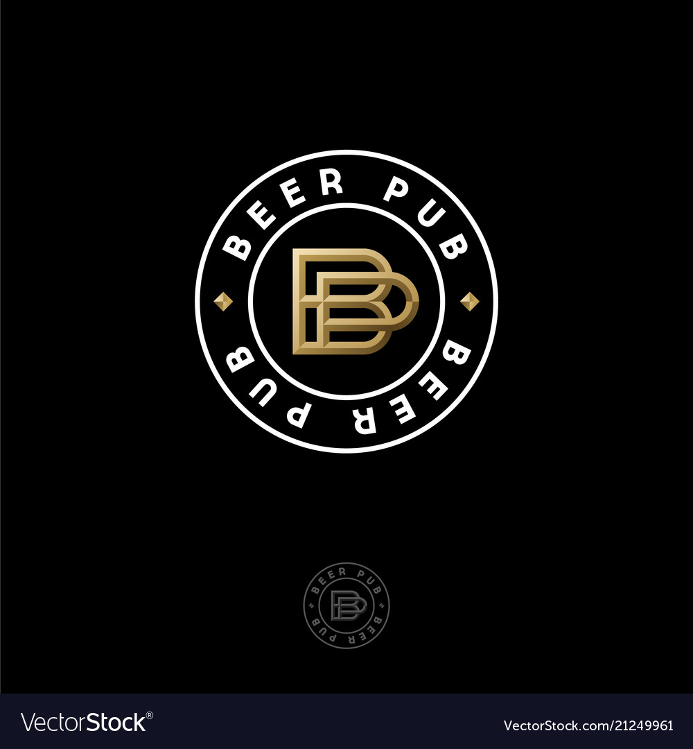 Beer pub logo brewery emblem or sign b p letters