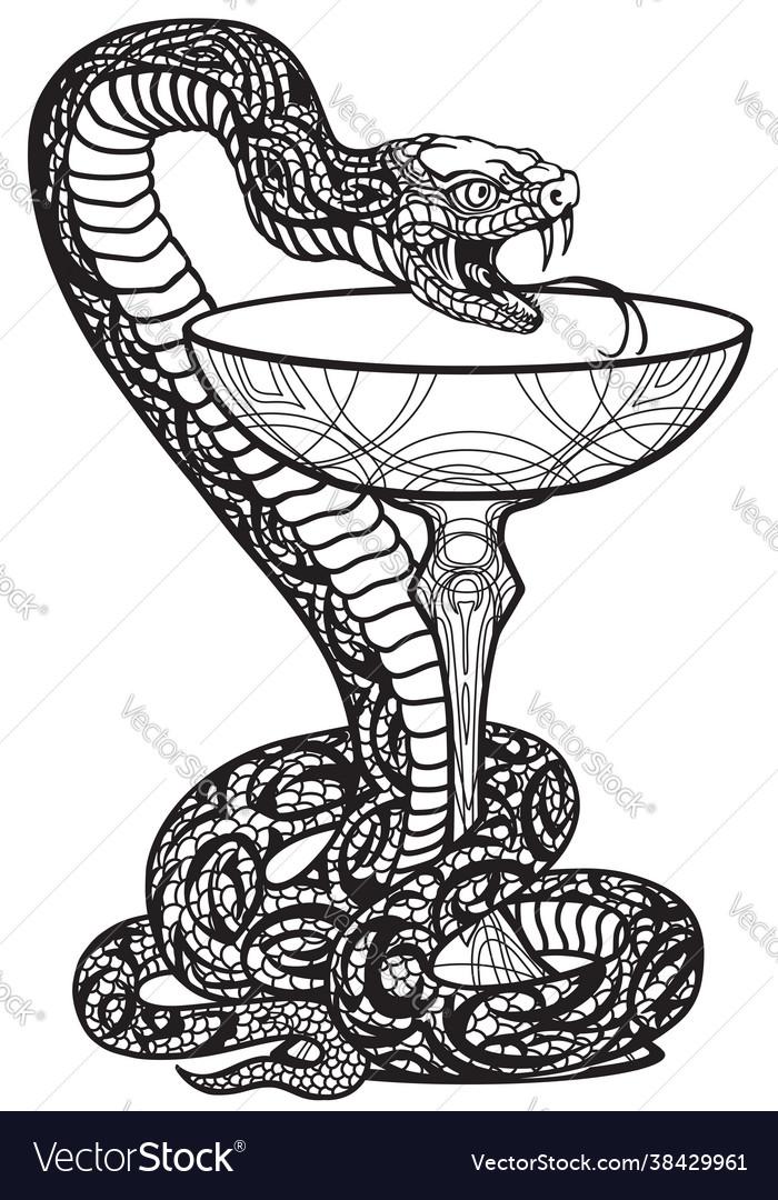 Bowl hygieia with a snake twined around