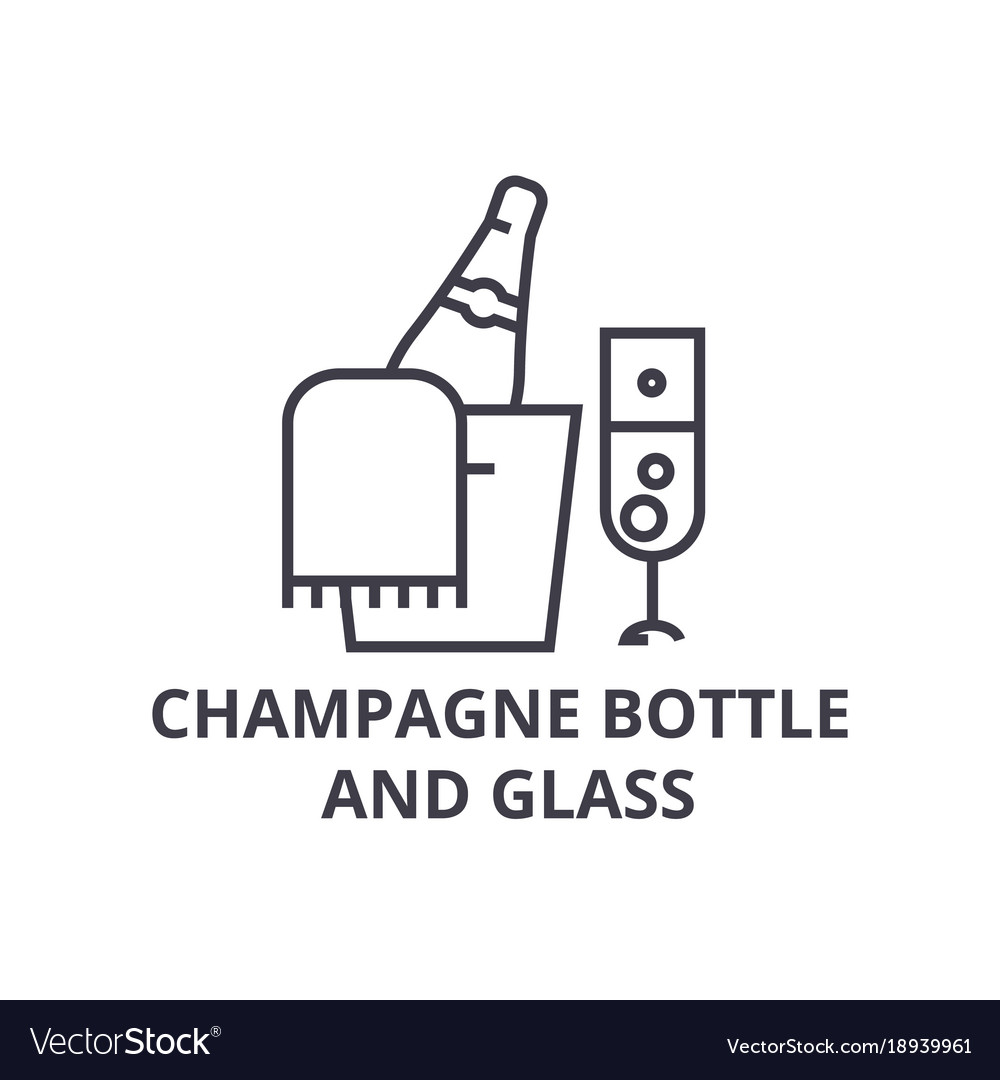 Champagne bottle and glass line icon outline sign