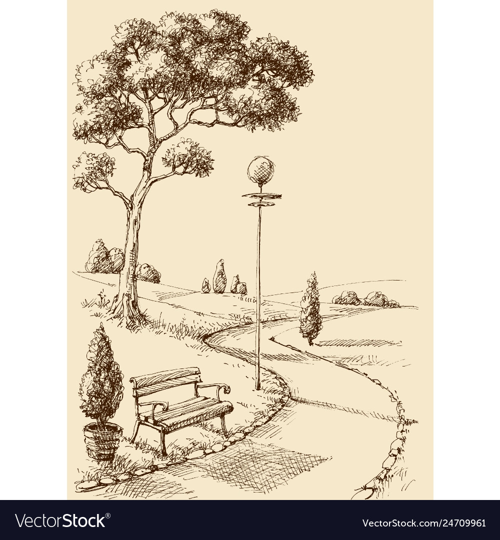 City Park Alley And Bench Hand Drawing Royalty Free Vector