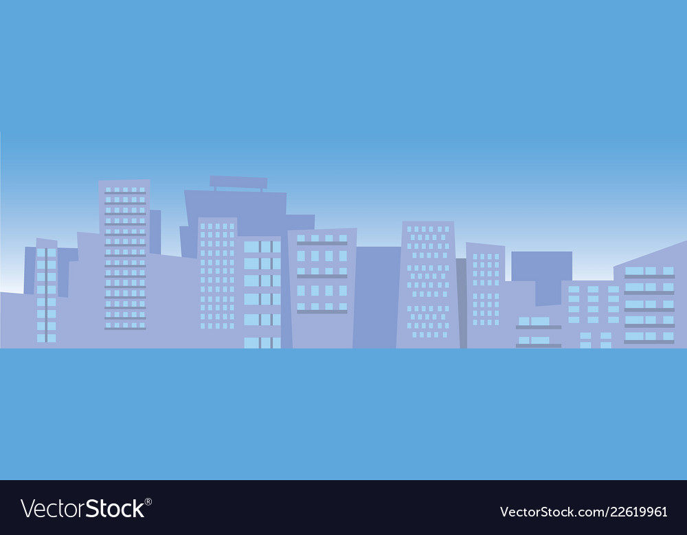 City skyline with blue sky with sun and clouds