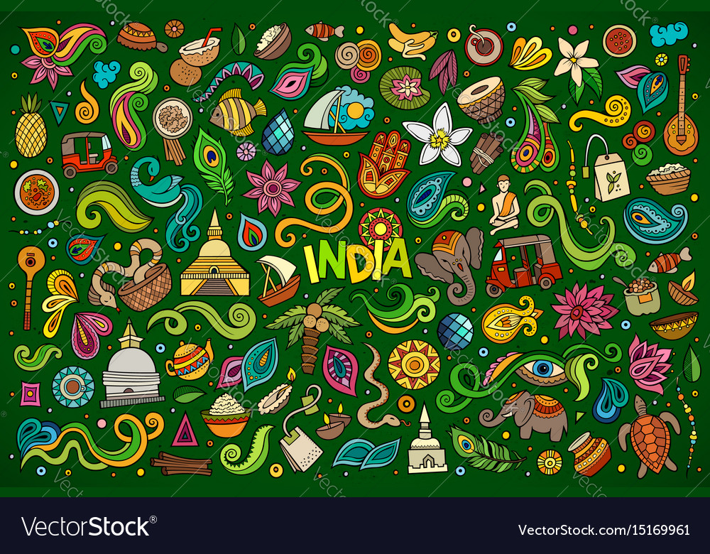 Doodle cartoon set of indian objects and