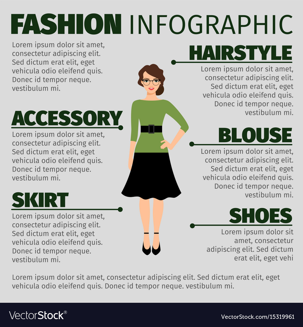 Fashion infographic with young female teacher