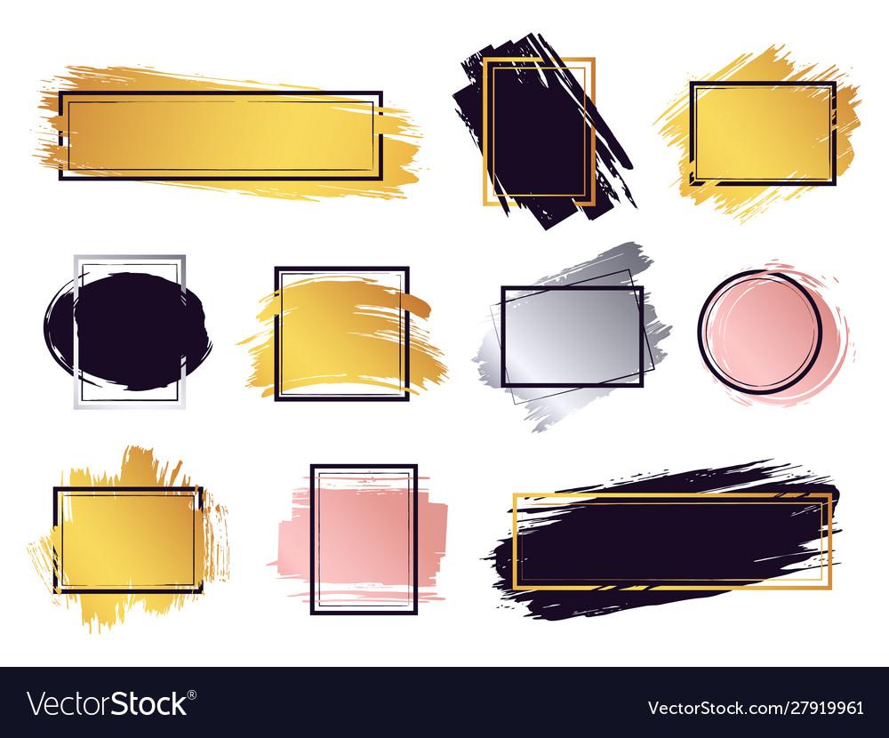 Glamour ink brush frame gold frame elements