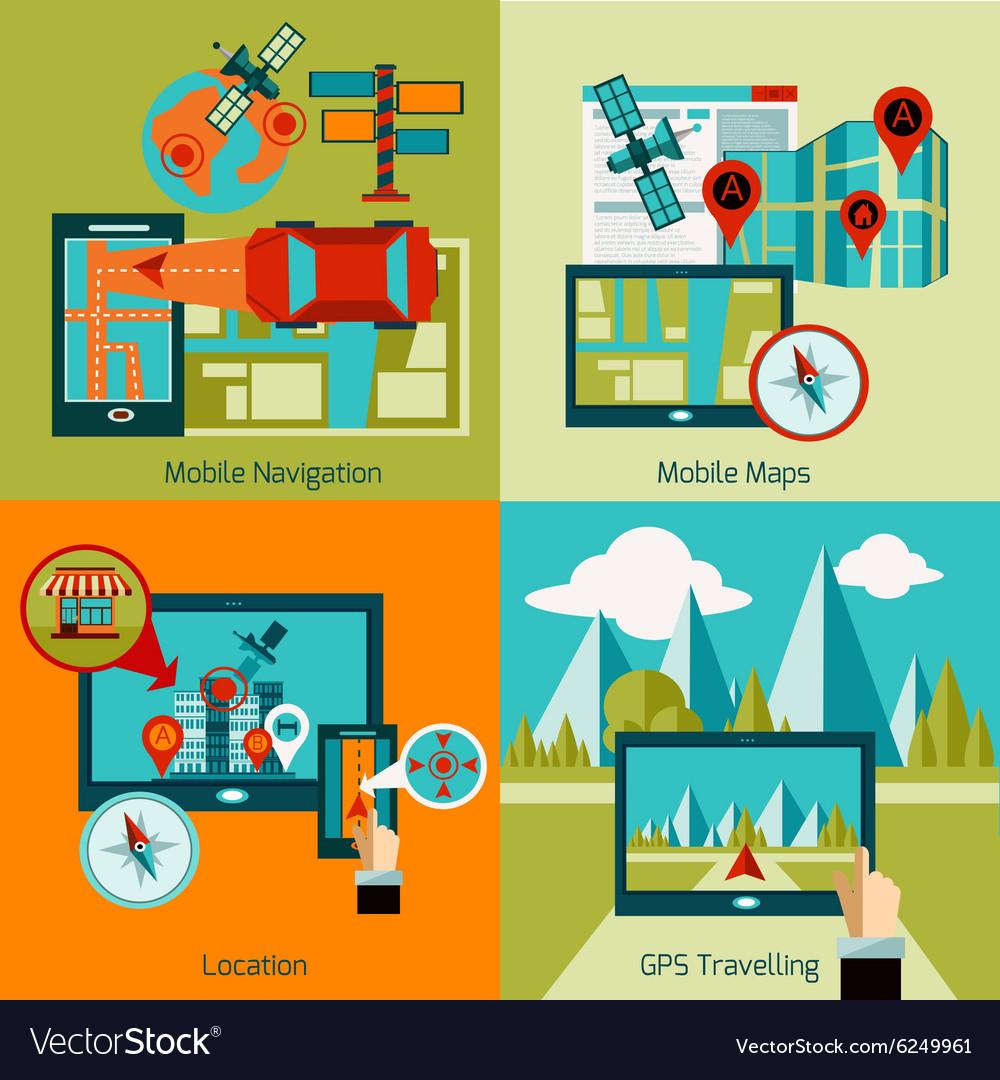 Gps Navigation Set vector image