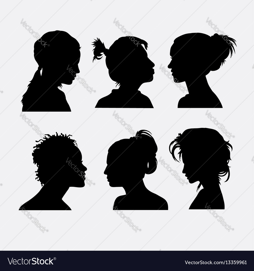 Hair and face expression silhouette vector image