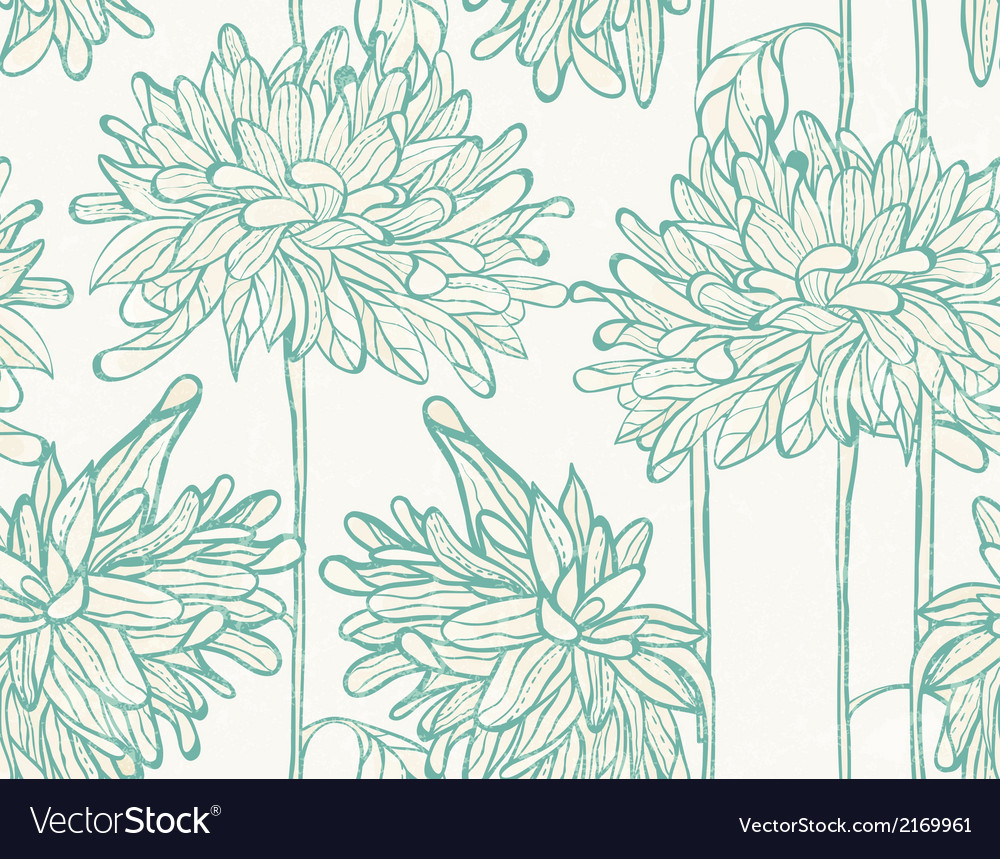 Hand drawn pattern with chrysanthemum