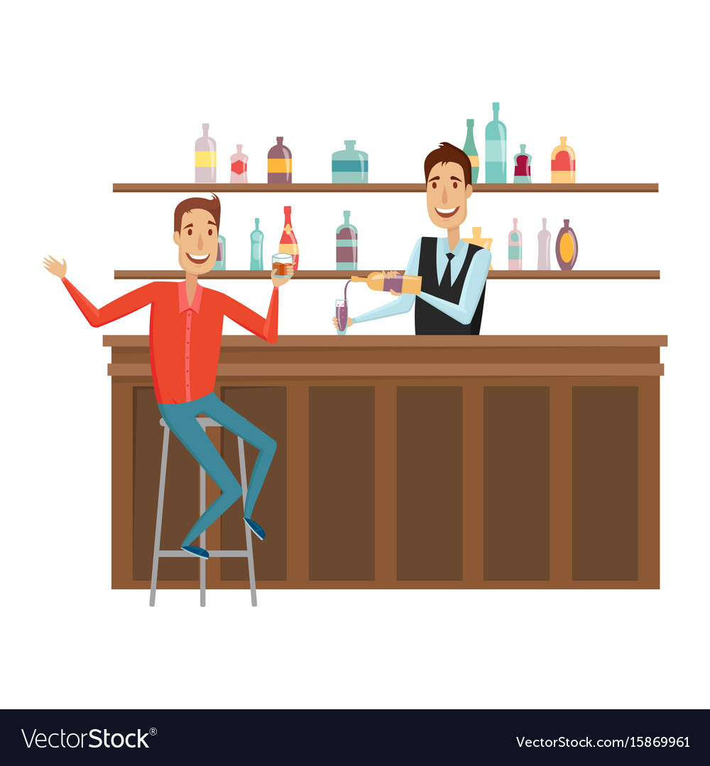 Meet and discuss at the bar with good friends flat