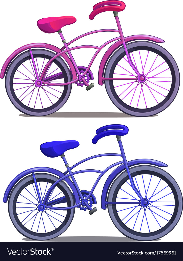Pink and blue bicycle isolated on white background