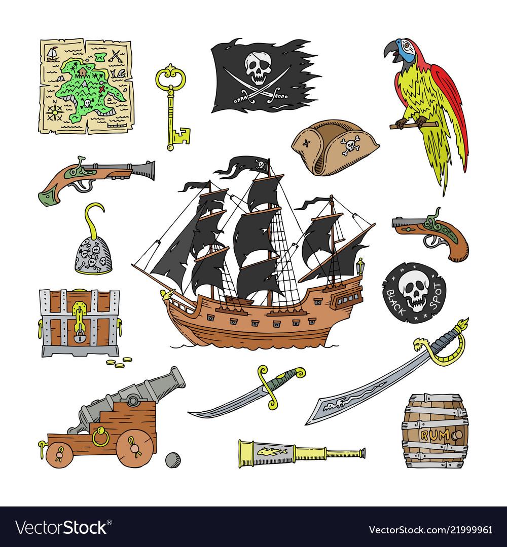 Piratic pirating sailboat and parrot