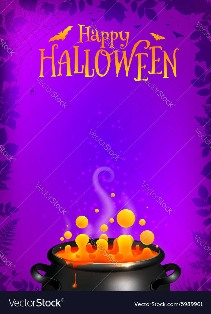 purple halloween poster template with orange vector image