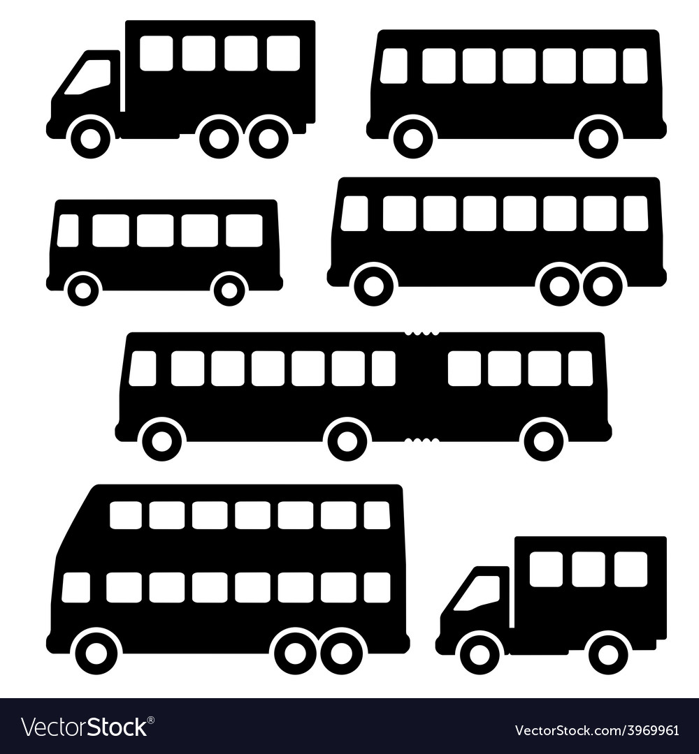 Set bus silhouette on a white background